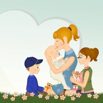illustration of mothers with sons