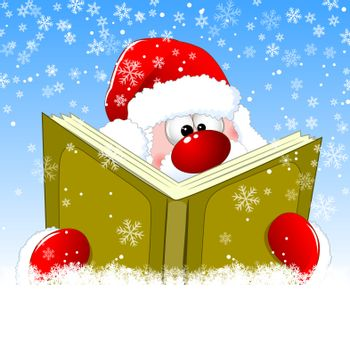 Santa is reading a book on Christmas Eve. Winter background with snowflakes. Winter reading Santa Claus.