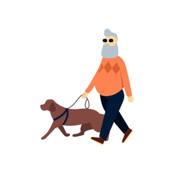 Blind senior with guide dog. Old man impaired vision. Elderly person with blindness on walk.