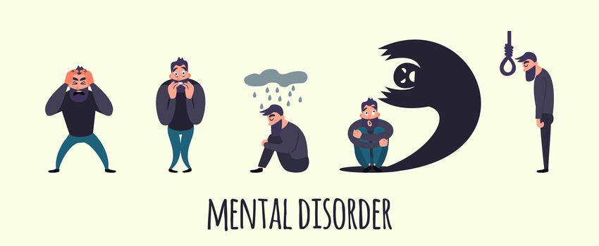 Group of people with psychology or psychiatric problem. Illness men in anxiety disorder. Phobia, suicide, fear and other mental disorder illustration