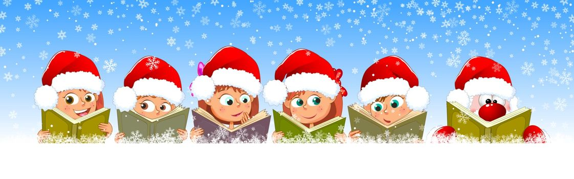 Little children read books. Children and Santa with books on a background of winter, on a background of snowflakes.