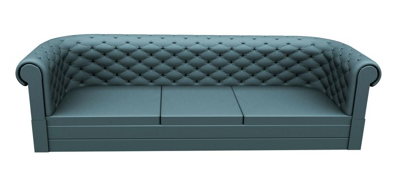 Turquoise three place leather or fabric sofa, isolated against a white background.