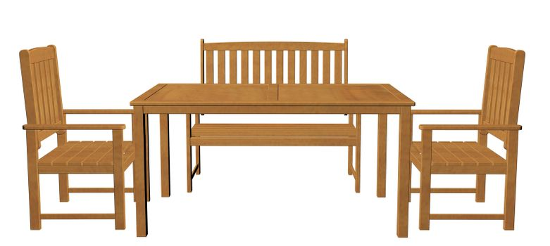 Wooden dinner table, chair and seat, isolated against a white background. 3d Illustration.