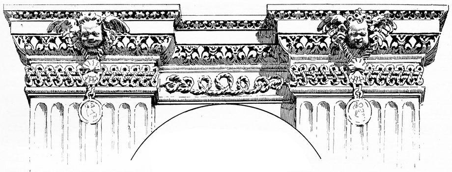 Details of a frieze for the Louvre palace, vintage engraved illustration. Paris - Auguste VITU – 1890.