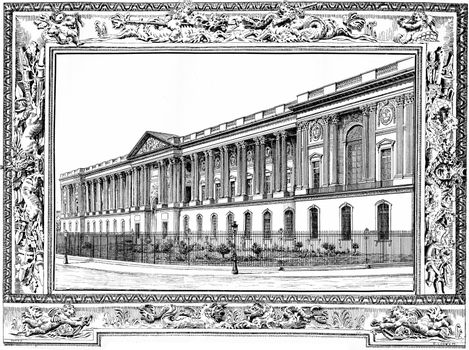 The colonnade of the Louvre, vintage engraving.