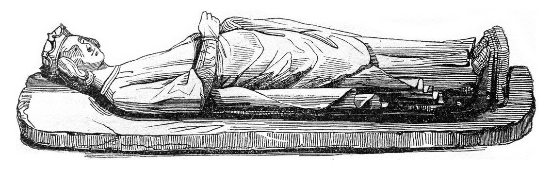 Statue of Ethelbert placed on his tomb in Hereford Cathedral, vintage engraved illustration. Colorful History of England, 1837.