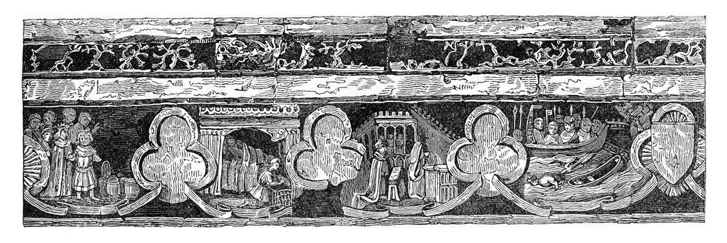 Fourth Low-relief, vintage engraved illustration. Colorful History of England, 1837.