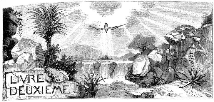 The baptism of Jesus Christ and the testimony of John the Baptist, vintage engraved illustration.