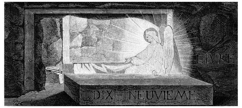 The resurrection, vintage engraved illustration.
