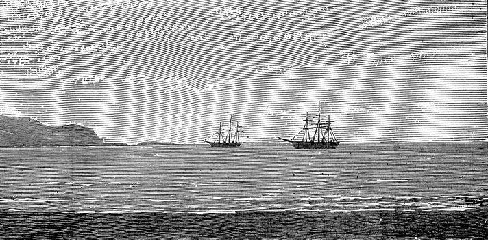The harbor of Panama, vintage engraved illustration. Journal des Voyages, Travel Journal, (1879-80).