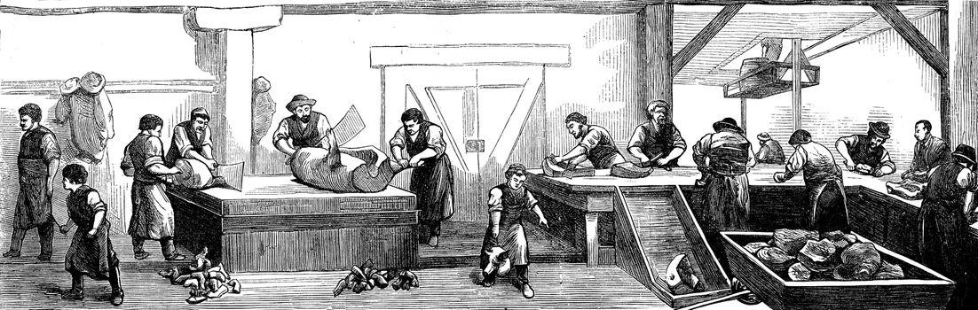 Deli Cincinnati. The slaughter of pigs, vintage engraved illustration. Journal des Voyage, Travel Journal, (1879-80).