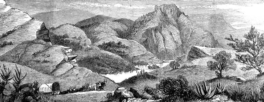 A hunting adventure in America. View of Bear's lake, vintage engraved illustration. Journal des Voyages, Travel Journal, (1880-81).