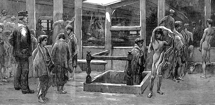 The maritime education in English. Bath aboard a boat school, vintage engraved illustration. Journal des Voyage, Travel Journal, (1880-81).