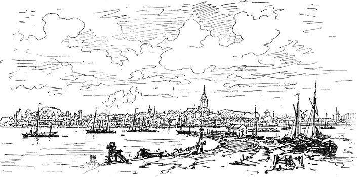 Holland. General view of Nijmegen, vintage engraved illustration. Journal des Voyage, Travel Journal, (1880-81).