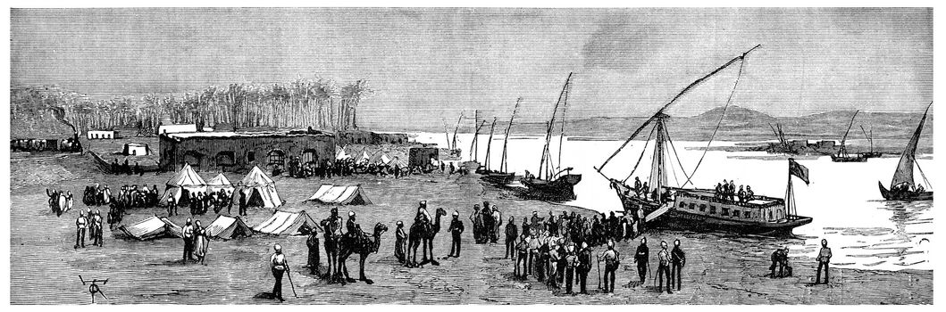 Headquarters of Lord Wolseley on top Nile, vintage engraved illustration. Journal des Voyage, Travel Journal, (1880-81).