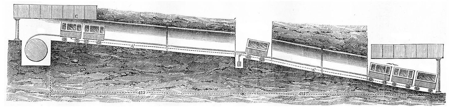 Longitudinal section of the Lyon-Fourviere inclined to Saint-Just plane, vintage engraved illustration. Journal des Voyage, Travel Journal, (1880-81).