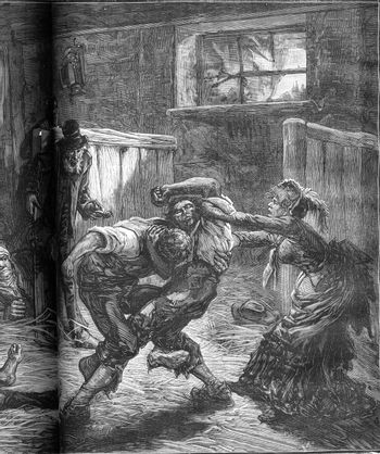 A brawl in a flophouse in London. The woman and her companions c