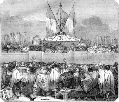 Chapter members public proclamation of Charlemagne, the Champ de