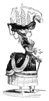 Coiffure a la Belle Poule, vintage engraving.