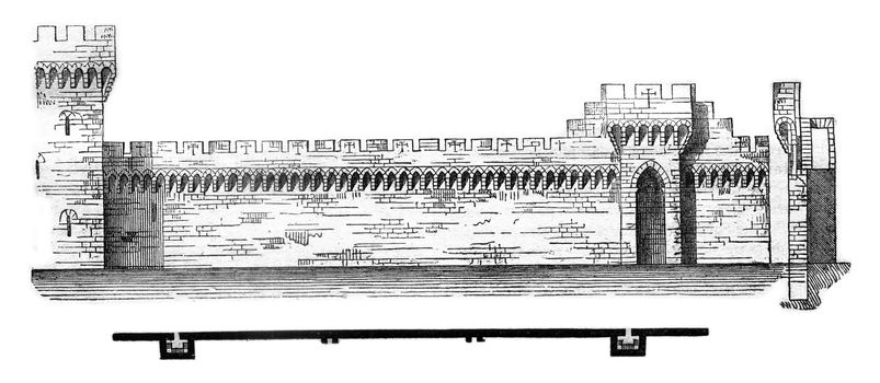 Plan and section of the city walls of Avignon, vintage engraved illustration. Magasin Pittoresque 1841.