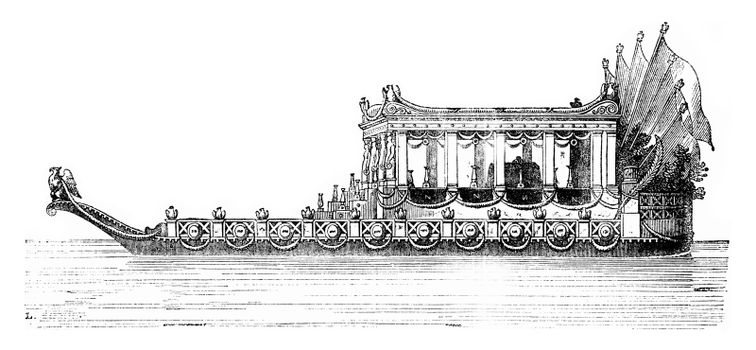 The Imperial Boat, vintage engraved illustration. Magasin Pittoresque 1841.