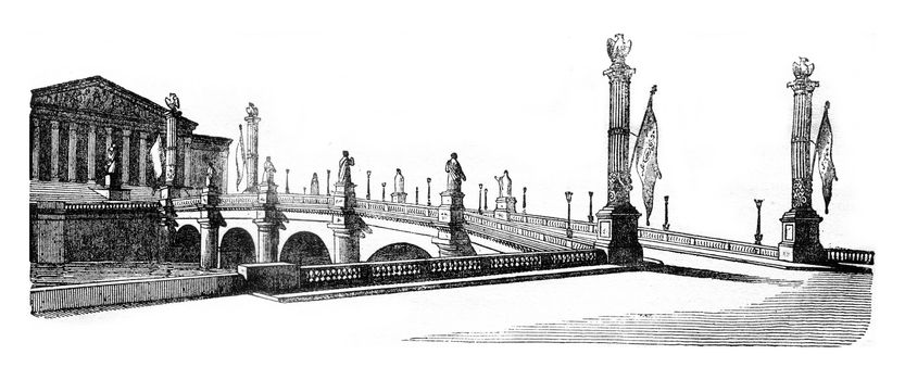 Decorations of the Concorde Bridge and the House of Deputies, vintage engraved illustration. Magasin Pittoresque 1841.