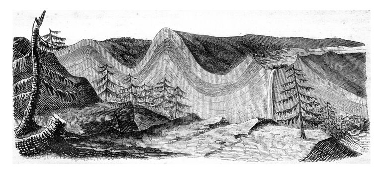 Ideal cross-section of the Jura chain, following one of the transversal valleys, vintage engraved illustration. Magasin Pittoresque 1841.