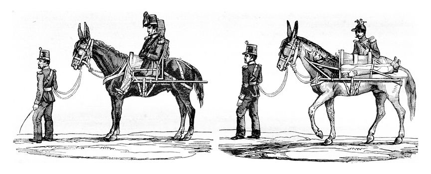 New mode of transportation of wounded soldiers, vintage engraved illustration. Magasin Pittoresque 1842.