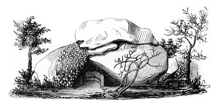 Napoleon's Cave in Ajaccio, vintage engraved illustration. Magasin Pittoresque 1842.