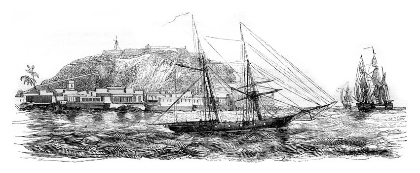 Gorce Island, East Point, vintage engraved illustration. Magasin Pittoresque 1843.