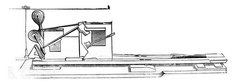 Detail of the mechanics of the piano, vintage engraved illustration. Magasin Pittoresque 1844.