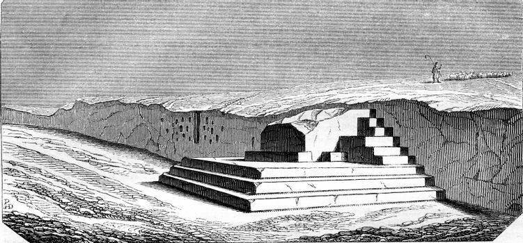 Puy, old rostrum of athemens, discovery in 1822, vintage engraved illustration. Magasin Pittoresque 1844.