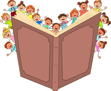 Cartoon little kids read big book. Children and book on a white background.