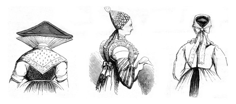 Hairstyles districts, vintage engraved illustration. Magasin Pittoresque 1845.