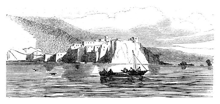 Monaco, vintage engraved illustration. Magasin Pittoresque 1845.