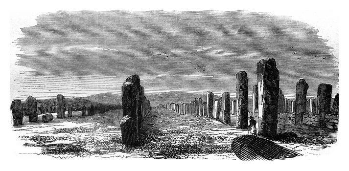 Remember Carnac, Morbihan, vintage engraved illustration. Magasin Pittoresque 1845.