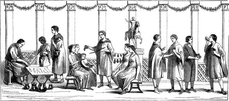 Market, Cobblers, other merchants, vintage engraved illustration. Magasin Pittoresque 1845.