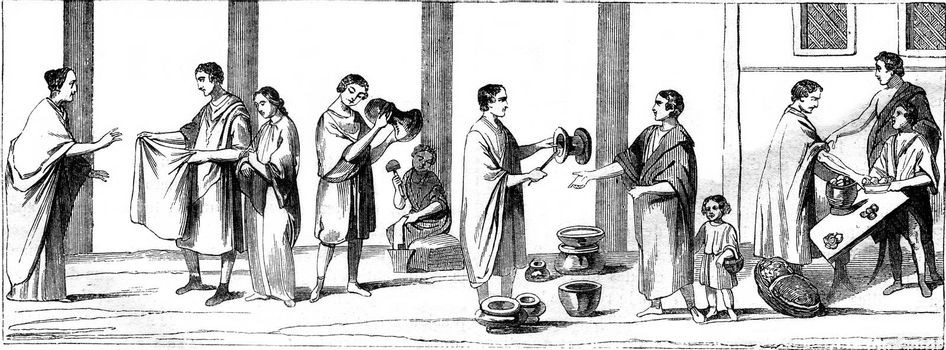 Market, Potters, Draper, Patissier, vintage engraved illustration. Magasin Pittoresque 1867.