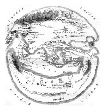 Homer's map of the world, vintage engraving.