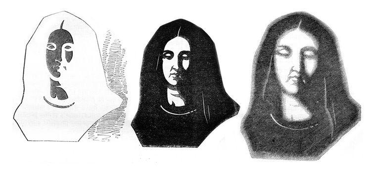 Fig 1-Cut card, Fig 2-Premiere effect, Fig 3- Second effect, vintage engraved illustration. Magasin Pittoresque 1847.