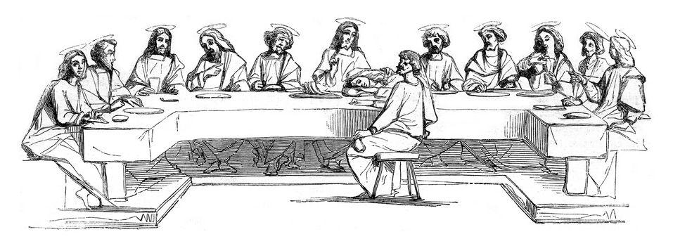 Last Supper, vintage engraved illustration. Magasin Pittoresque 1847.
