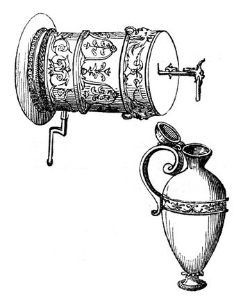 The barrel of the liquid layer to provide a square vase below, v