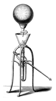 First pneumatic machine running regularly, vintage engraving.