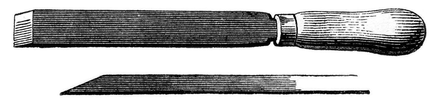 Bevel chisel, vintage engraved illustration. Magasin Pittoresque 1853.