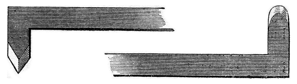 Dimension of barley grain, vintage engraved illustration. Magasin Pittoresque 1853.