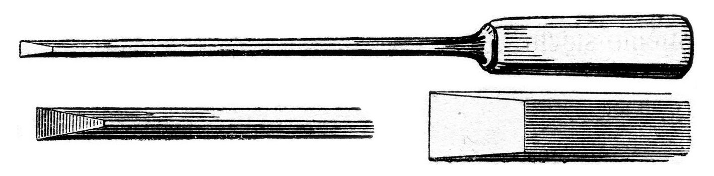 Chisel, vintage engraved illustration. Magasin Pittoresque 1853.