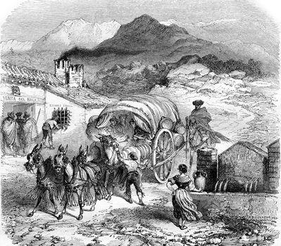 Galera arriving at a hostel in the Sierra Nevada, vintage engrav