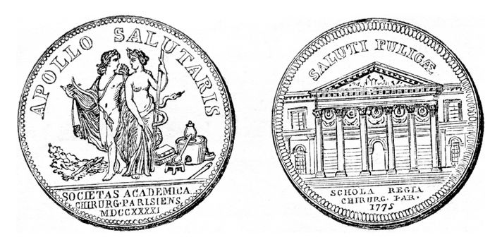 Fig 1- Reversal of a token of the Company surgery, Apollo and Health, Fig 2- Reversal of a token strikes for the inauguration of the School of surgery, vintage engraved illustration. Magasin Pittoresque 1857.