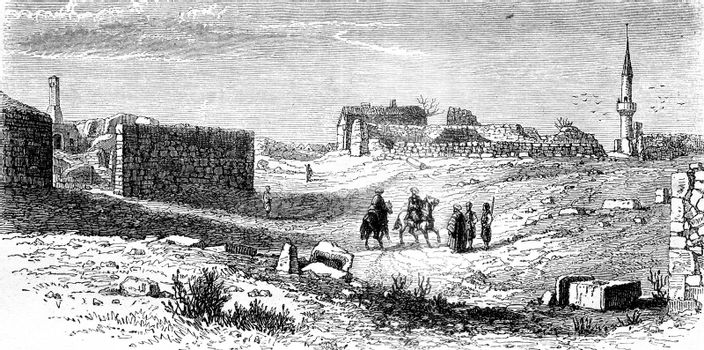 View of Kustendje, near the Danube, place of Ovid's exile, vintage engraved illustration. Magasin Pittoresque 1858.