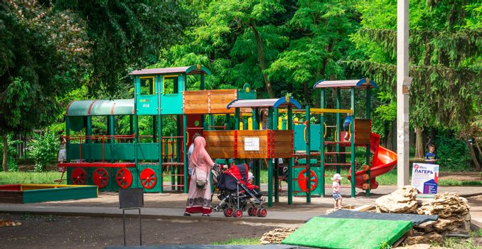 People walk and relax in Gorky Park in Odessa